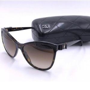 Chanel Brown Tortoise 5281q Cat Eye Sunglasses